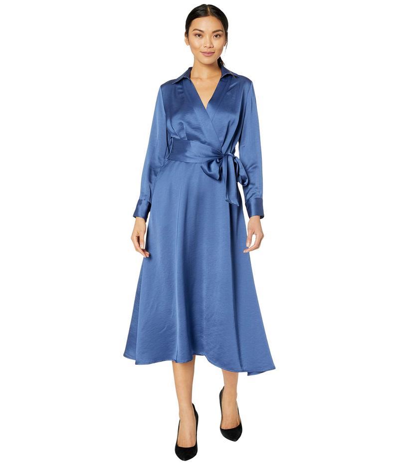 タハリ レディース ワンピース トップス Long Sleeve Charmeuse Faux Wrap Dress Periwinkle