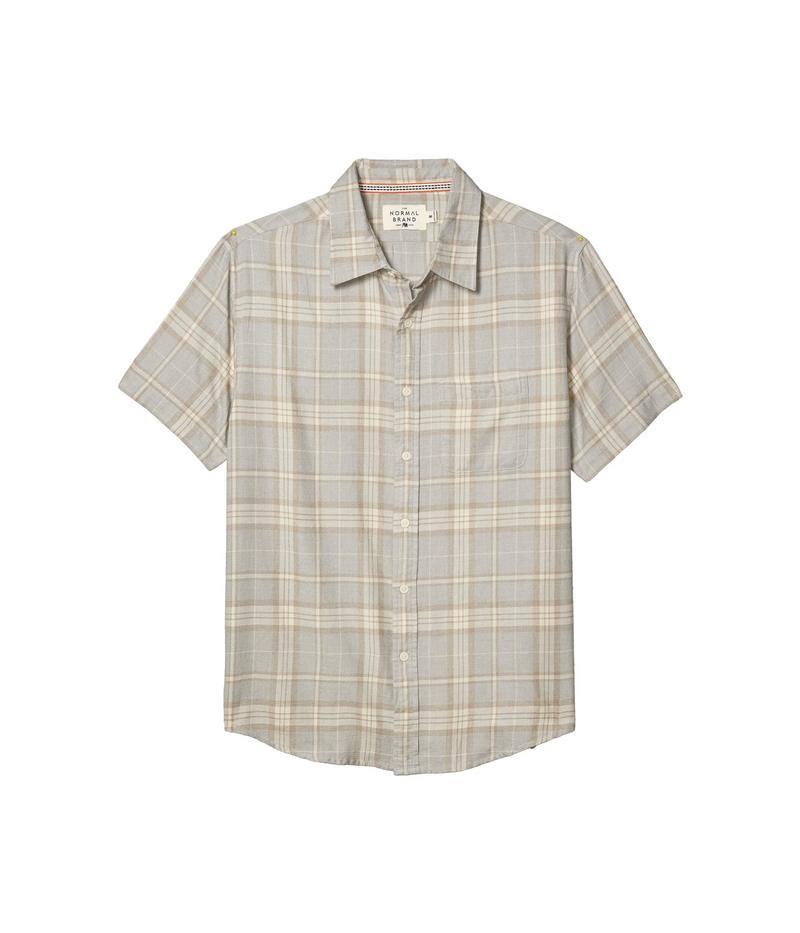ノーマルブランド メンズ シャツ トップス Short Sleeve Jasper Button-Down Grey Plaid
