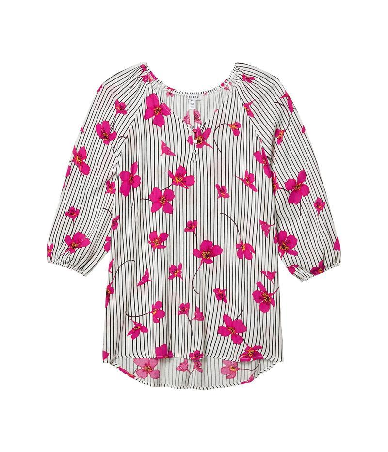 トリバル レディース シャツ トップス 3/4 Sleeve V-Neck Blouse Hot Pink