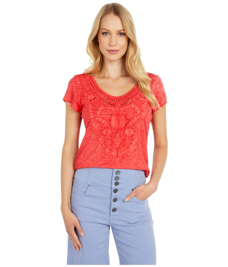トリバル レディース シャツ トップス Short Sleeve Embroidered Sweet Heart Top Hot Coral