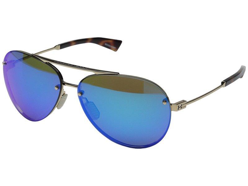 アンダーアーマー メンズ サングラス・アイウェア アクセサリー Double Down Shiny Gold/Shiny Tortoise Frame/Gray/Blue Multiflection Lens