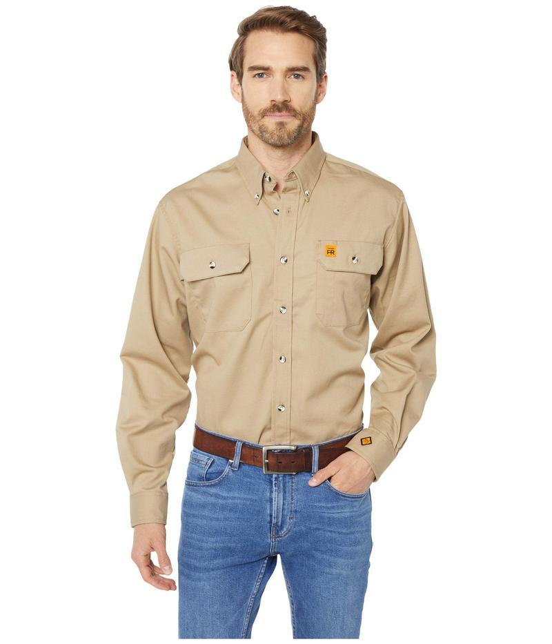 ラングラー メンズ シャツ トップス Flame Resistant Button Long Sleeve Solid Riggs Work Shirt Khaki