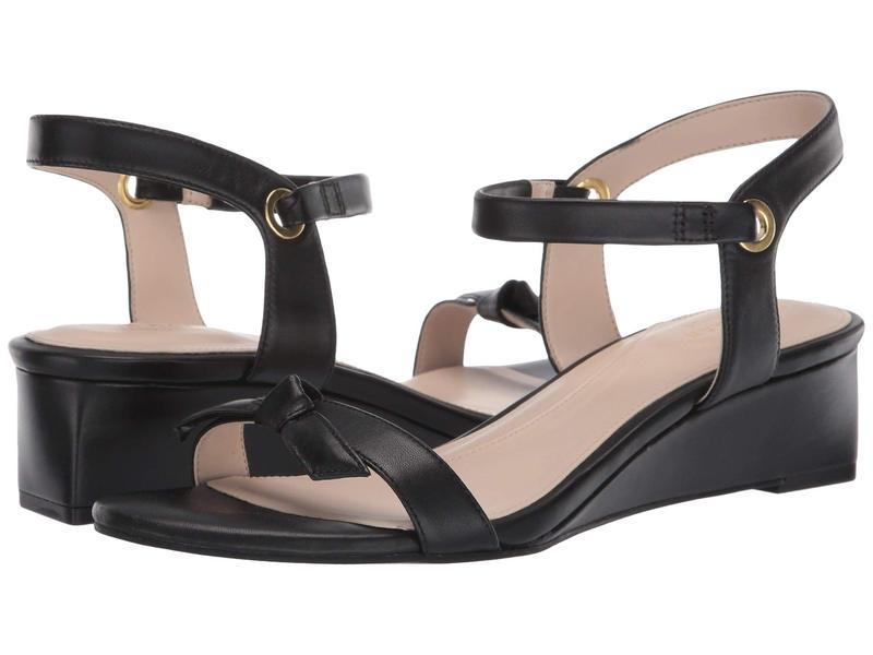 コールハーン レディース ヒール シューズ Halsey Wedge Sandal (40 mm) Black Leather B