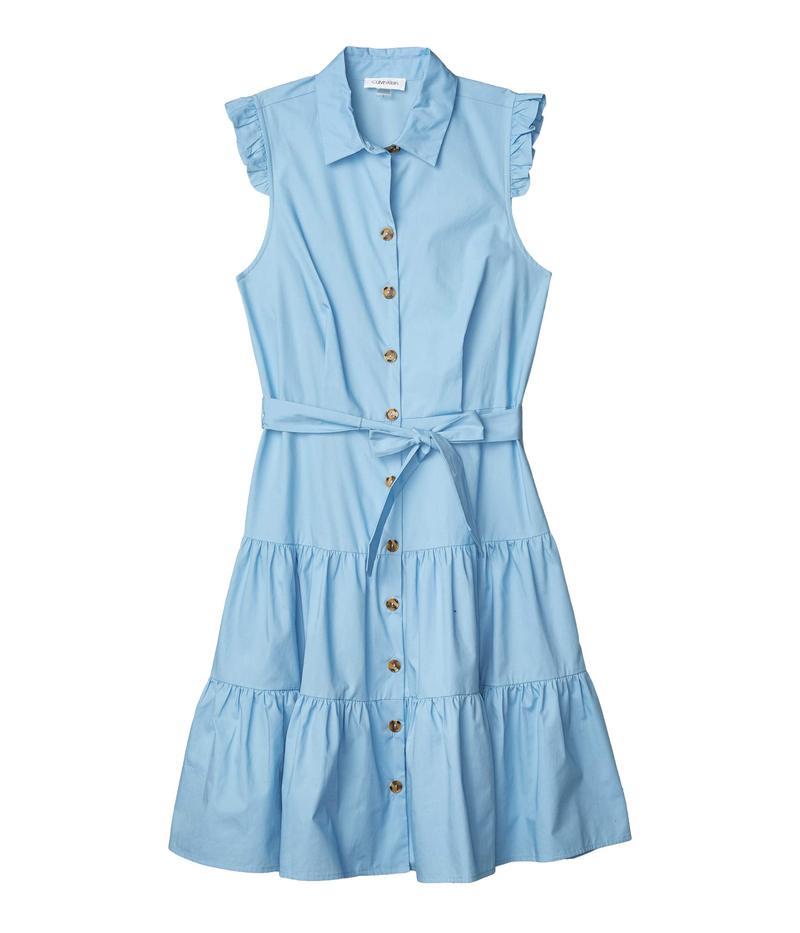 カルバンクライン レディース ワンピース トップス Sleeveless Tiered Shirtdress with Button Front Serene