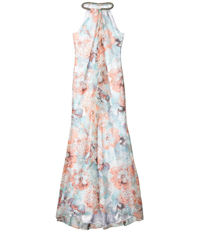 カルバンクライン レディース ワンピース トップス Floral Print Gown with Beaded Neck Carntion Multi
