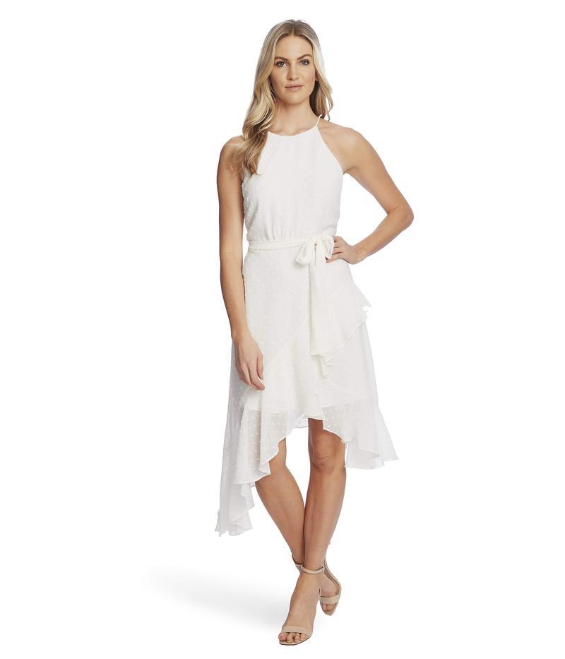 セセ レディース ワンピース トップス Sleeveless Clip Dot Cascading Ruffle Dress Soft Ecru
