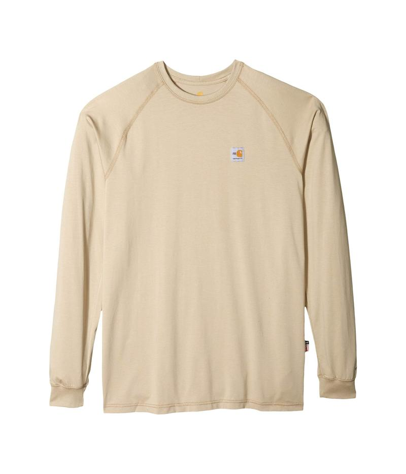 カーハート メンズ シャツ トップス Big & Tall Flame-Resistant Force Long Sleeve T-Shirt Khaki