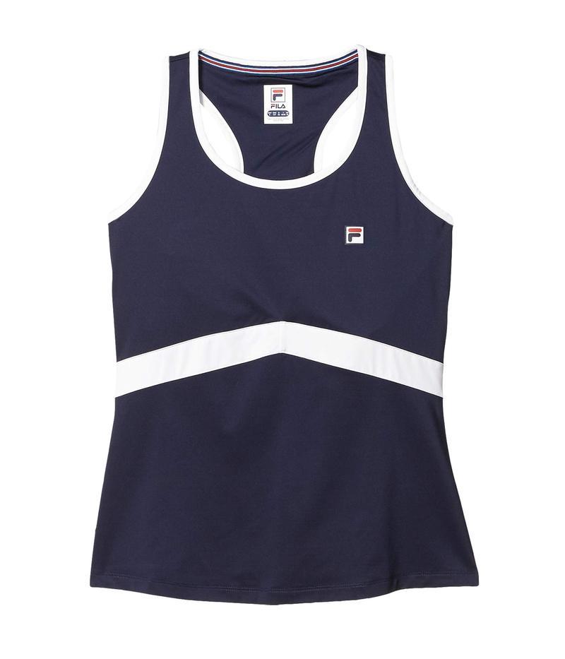 フィラ レディース シャツ トップス Heritage Tennis Racerback Tank Top Navy/White
