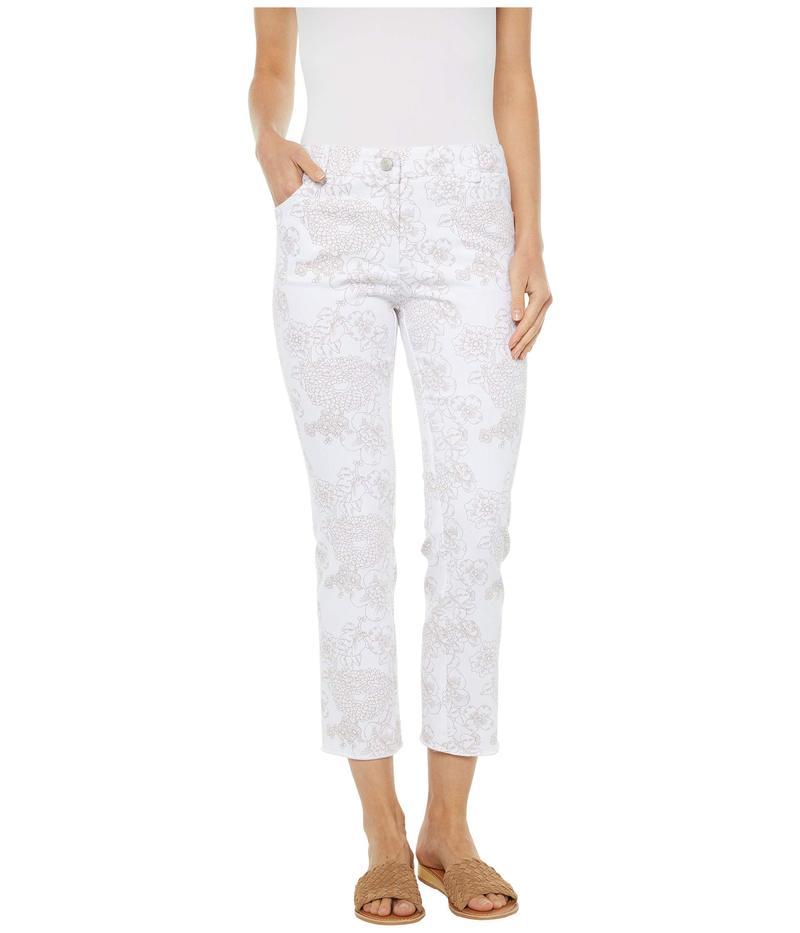 エリオットローレン レディース デニムパンツ ボトムス Fine Lines Floral Printed Five-Pocket Jeans in White/Camel White/Camel