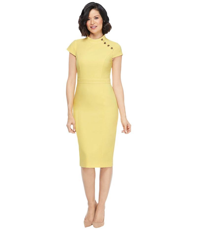 マギーロンドン レディース ワンピース トップス Mandarin Collar Sheath Dress Lemon Zest