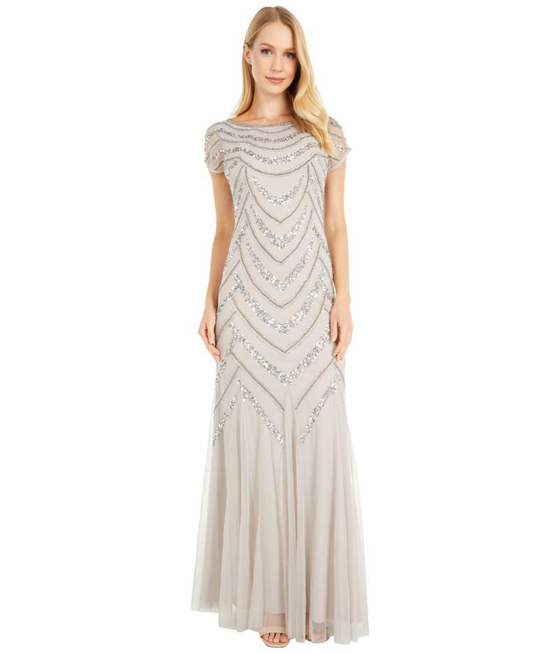 アドリアナ パペル レディース ワンピース トップス Beaded Covered Gown Marble