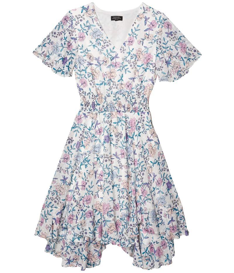 タハリ レディース ワンピース トップス Petite Smocked Tea Length Dress Ivory/Pink Lila