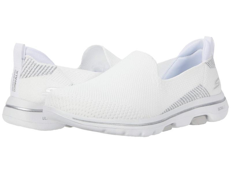 スケッチャーズ レディース スニーカー シューズ Go Walk 5 - Prized White/Silver