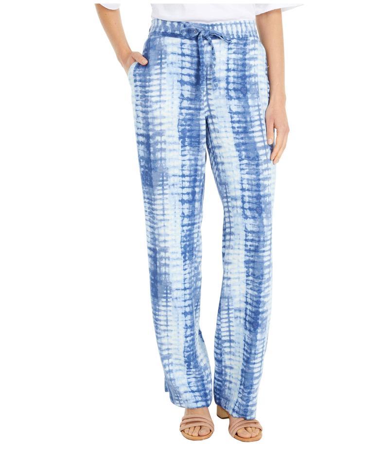 ヴィンスカムート レディース カジュアルパンツ ボトムス Drawstring Linear Shibori Linen Pants Blue Cloud