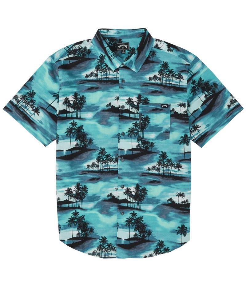 ビラボン メンズ シャツ トップス Sundays Floral Short Sleeve Aqua Blue