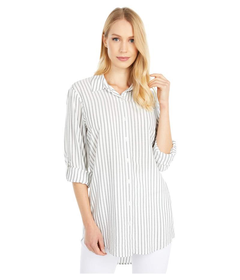 カルバンクライン レディース シャツ トップス Stripe Roll Sleeve Tunic Soft White/Blac
