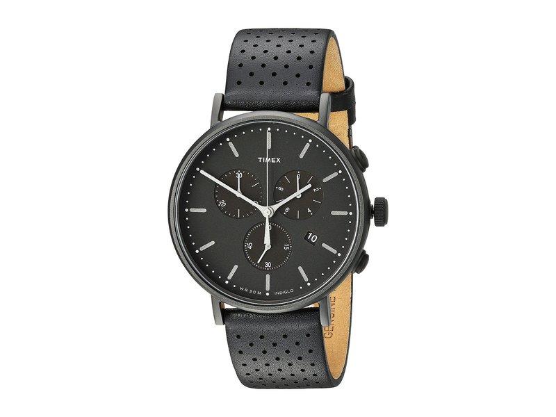 タイメックス メンズ 腕時計 アクセサリー Fairfield Chrono Leather Black/Black