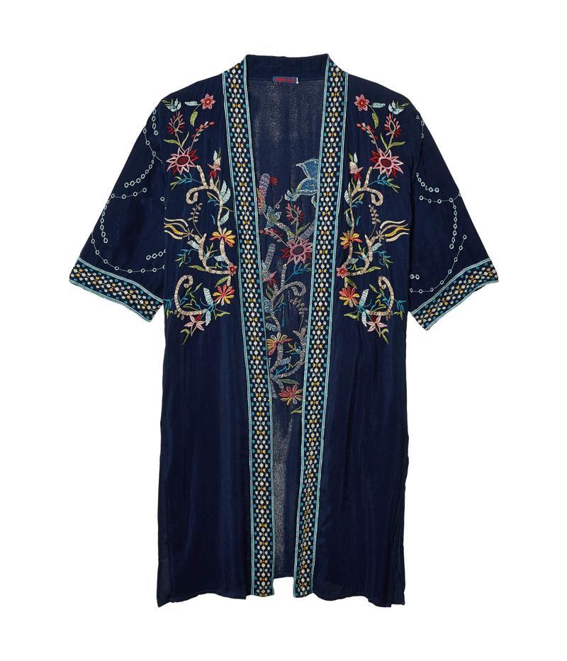 ジョニーワズ レディース シャツ トップス Summer Kimono Blue Night