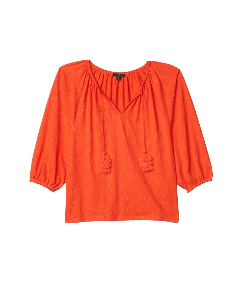 ジェイクルー レディース シャツ トップス Embroidered Tassel-Tie Top Brilliant Sunse