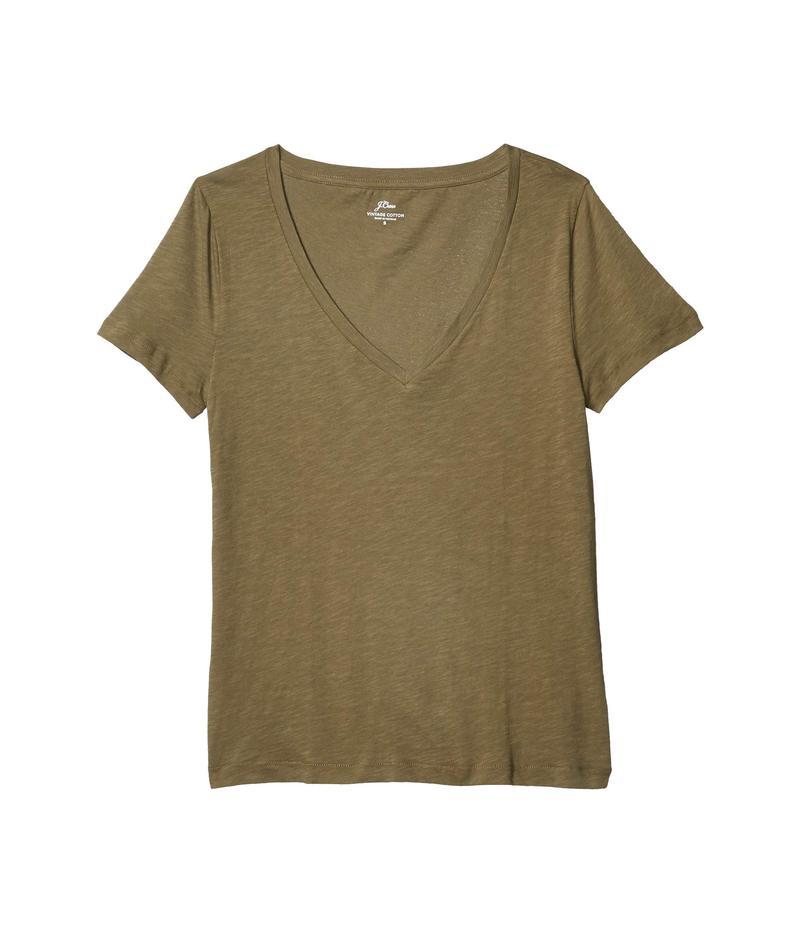 ジェイクルー レディース シャツ トップス Vintage Cotton V Neck T Shirt Frosty OliveiXOuTwPkZ