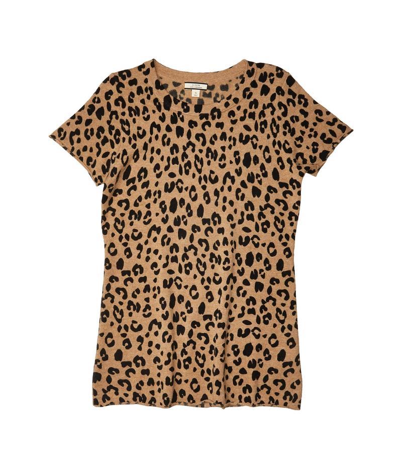 ジェイクルー レディース シャツ トップス Leopard Printed Short Sleeve Tee in Cashmere Heather Camel M