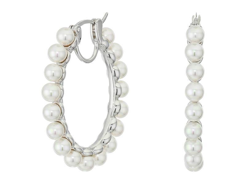 マジョリカ レディース ピアス・イヤリング アクセサリー 4 mm Karma Round Pearls Hoop Earrings White