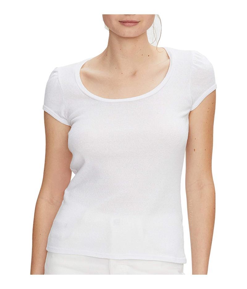 マイケルスターズ レディース シャツ トップス Olympia Shine Scoop Neck Puff Sleeve Top White
