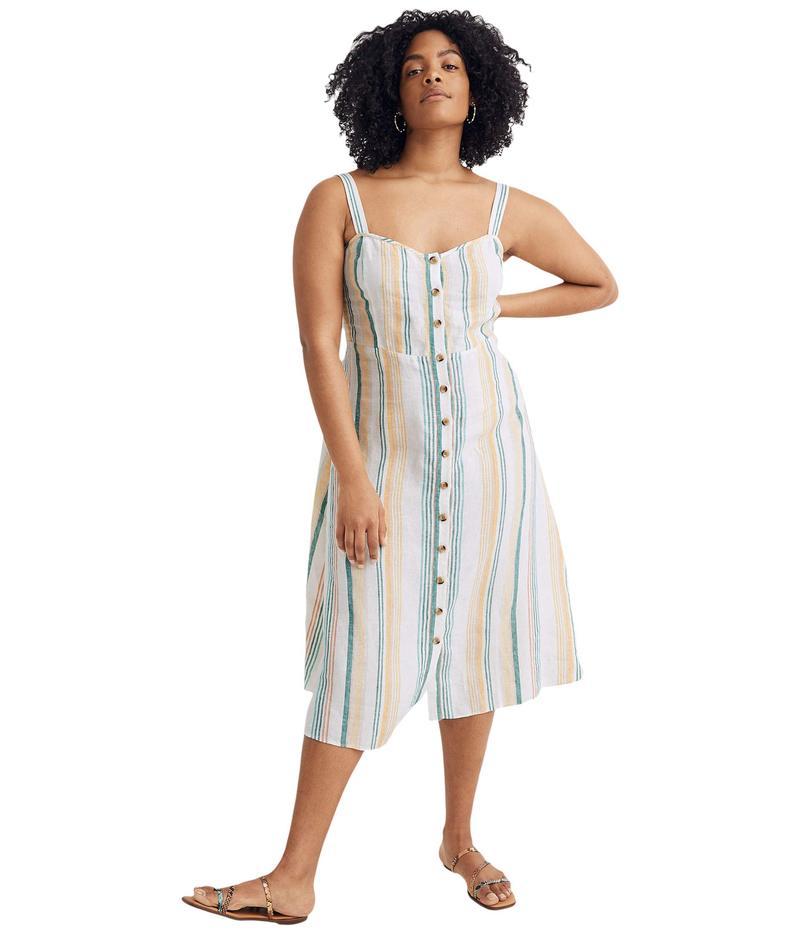 メイドウェル レディース ワンピース トップス Linen Fitted-Bodice Midi Dress in Stripe Pale Parchment