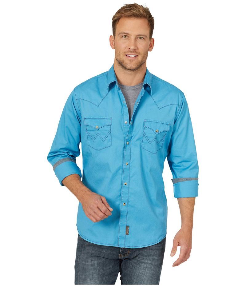 ラングラー メンズ シャツ トップス Retro Long Sleeve Solid Two-Pocket Snap Blue