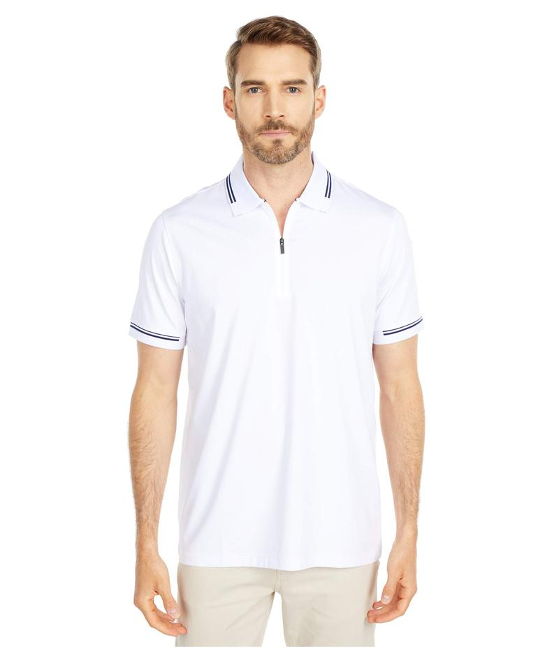 ブガッチ メンズ シャツ トップス Gastone Short Sleeve Knit 1/2 Zip Polo White