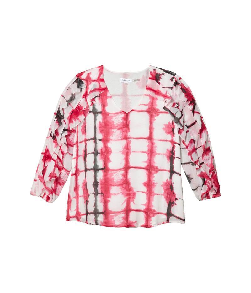 カルバンクライン レディース シャツ トップス Printed V-Neck Blouse w/ Double Ruffle Sleeve White/Hibiscus