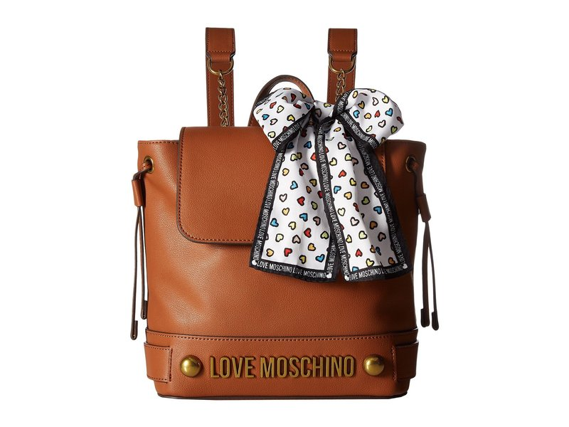 5fcd5e5c08a0 ラブ モスキーノ レディース バックパック・リュックサック バッグ Backpack w/ Love Moschino Scarf Brown 美品