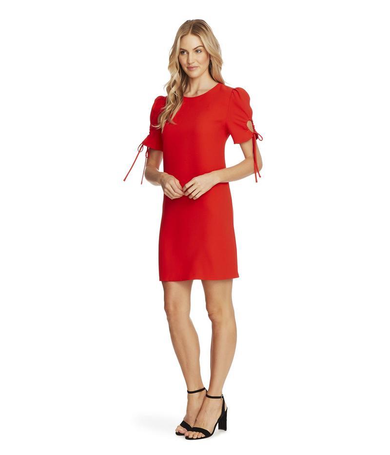 セセ レディース ワンピース トップス Puffed Keyhole Tie Sleeve Moss Crepe Dress Candy Apple