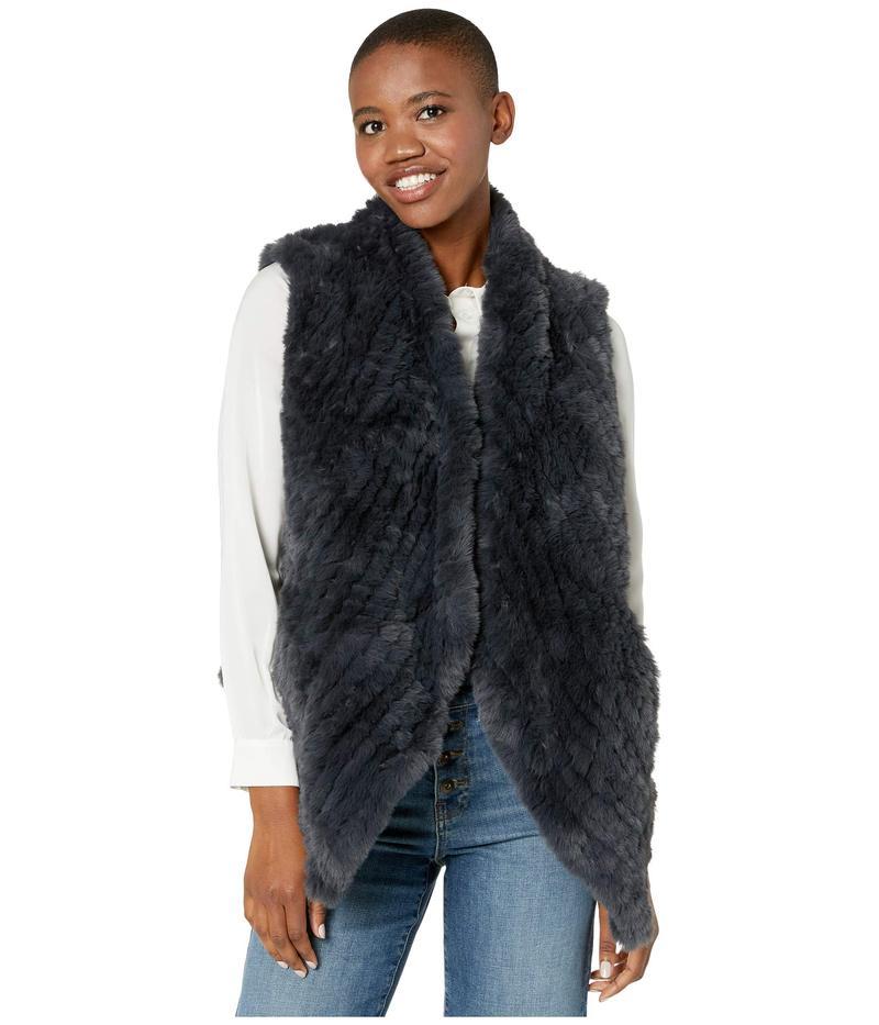 デイランバイトゥルーグリット レディース コート アウター Ultra Lux Plush Pia Knit Faux Fur Vest Dark Navy