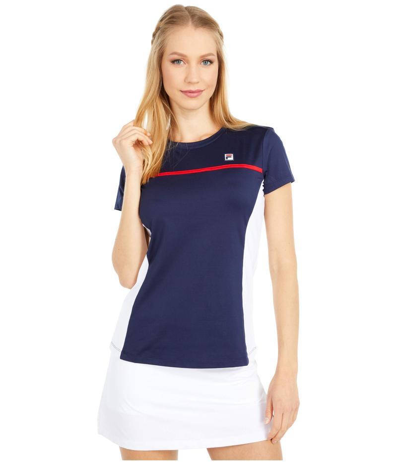 フィラ レディース シャツ トップス Heritage Tennis Short Sleeve Top Navy/White/Chin