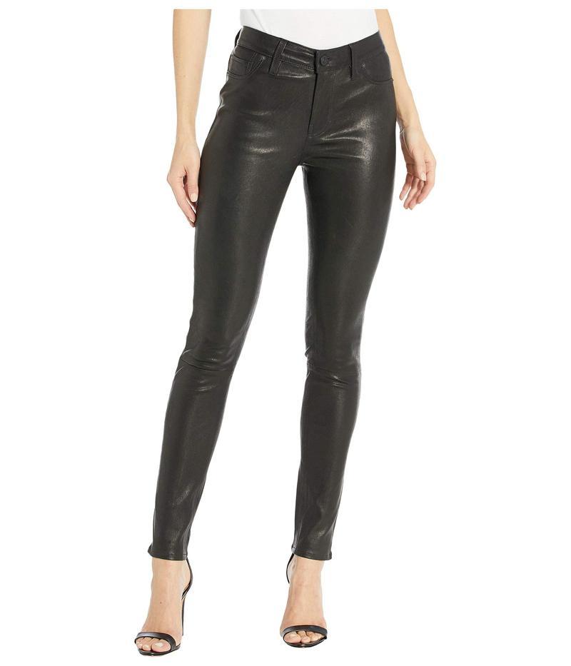 ハドソンジーンズ レディース デニムパンツ ボトムス Nico Leather Mid-Rise Skinny in Black Black
