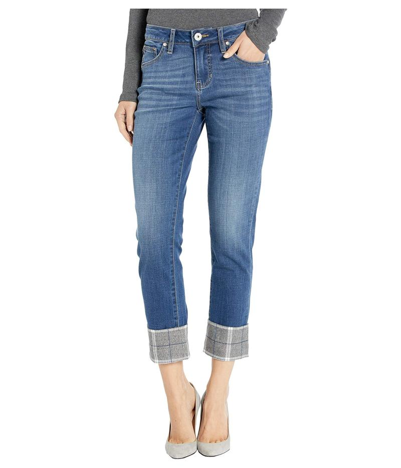 ジャグジーンズ レディース デニムパンツ ボトムス Carter Girlfriend Jeans with Plaid Cuff in Brilliant Blue Brilliant Blue