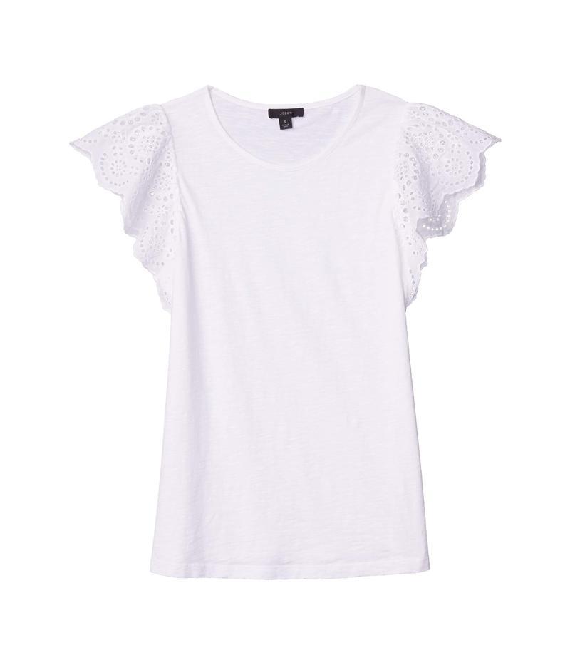 ジェイクルー レディース シャツ トップス Slub Eyelet Flutter Sleeve T-Shirt White
