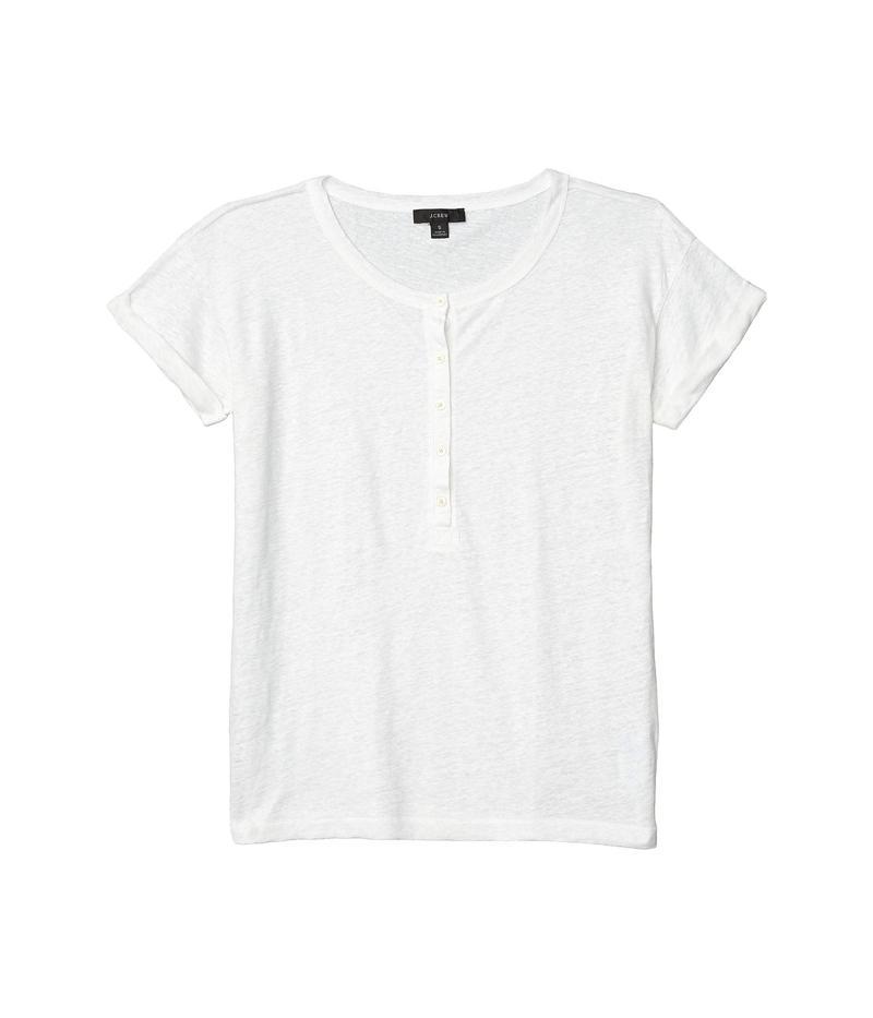 ジェイクルー レディース シャツ トップス Linen Roll Cuff Henley T-Shirt White