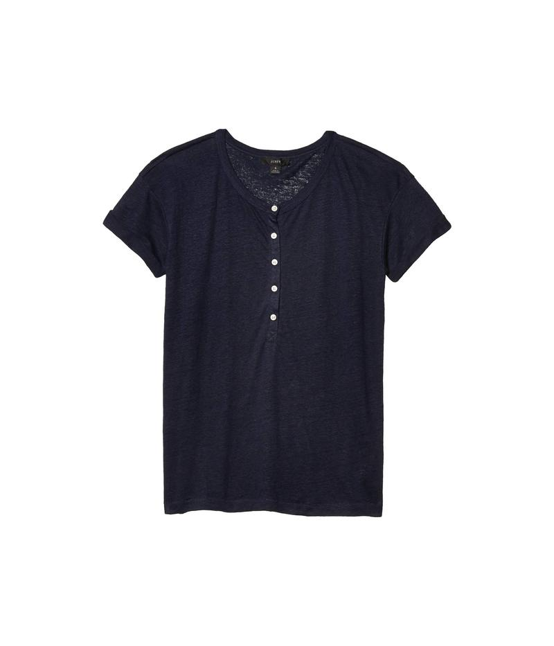 ジェイクルー レディース シャツ トップス Linen Roll Cuff Henley T-Shirt Navy