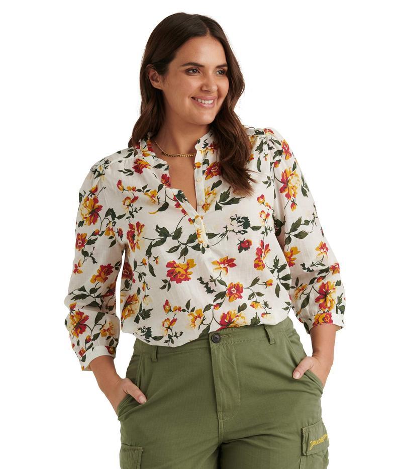 ラッキーブランド レディース シャツ トップス Long Sleeve Button-Up One-Pocket Floral Megan Popover Top Natural Multi