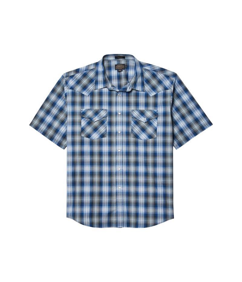 【全商品オープニング価格 特別価格】 ペンドルトン メンズ シャツ トップス Frontier Shirt Short Sleeve Blue/Black Ombr, エスコミュール/お受験スーツ bd3dd566