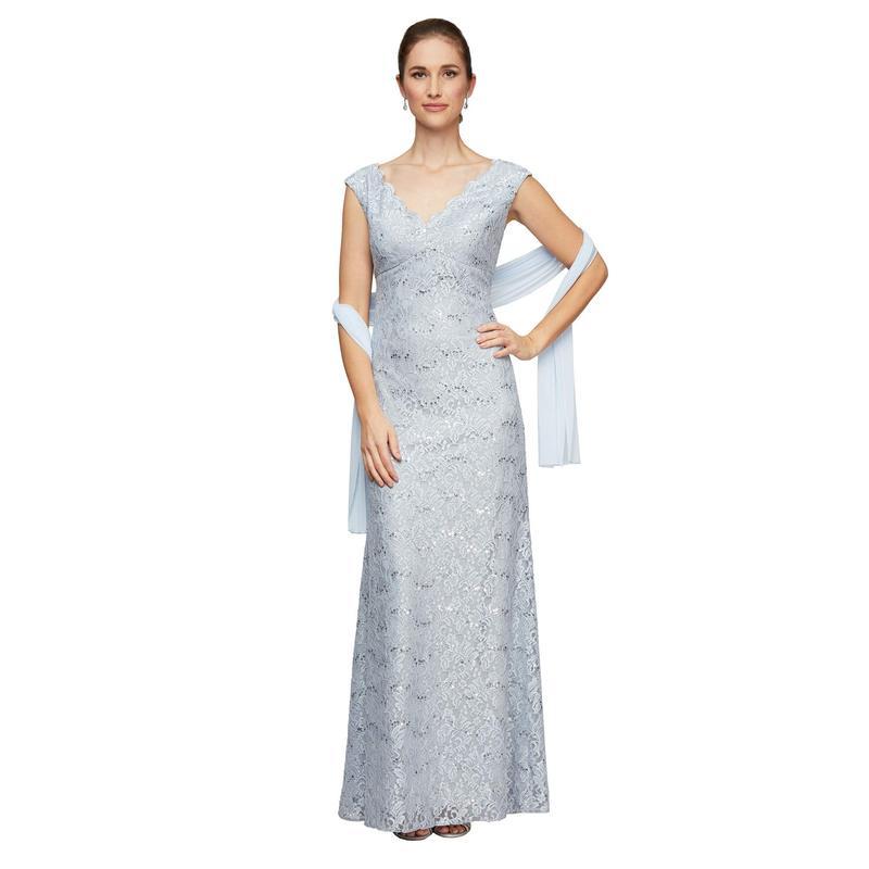アレックスイブニングス レディース ワンピース トップス Long Sleeveless Lace Fit-and-Flare V-Neck Dress Lavender/Silver