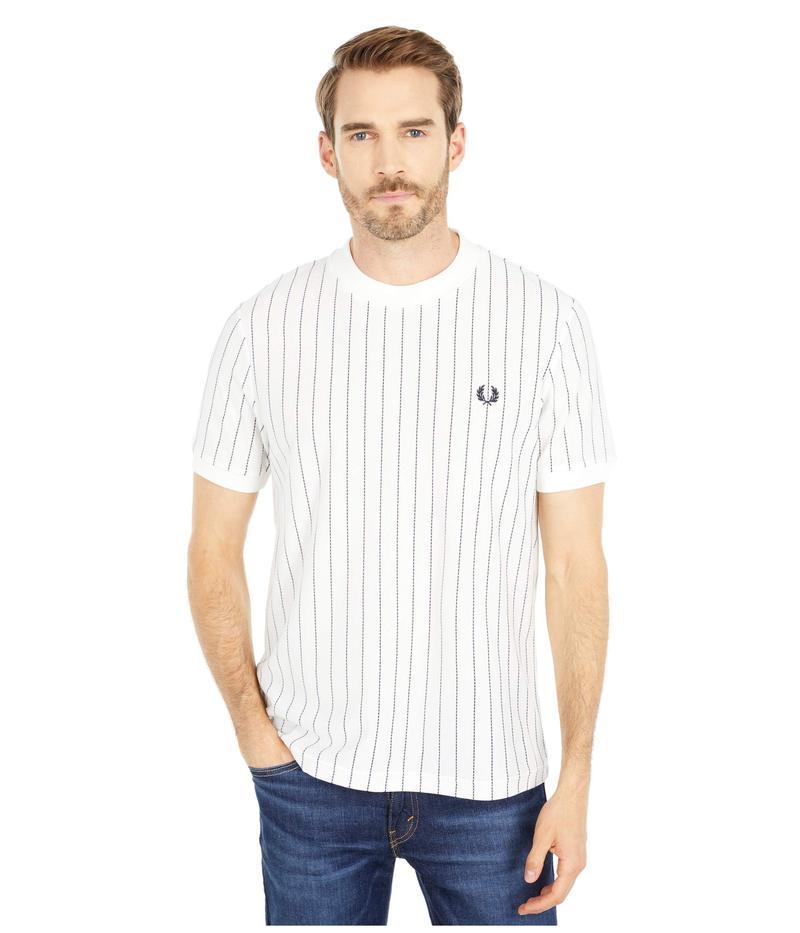 フレッドペリー メンズ シャツ トップス Vertical Stripe Pique T-Shirt Snow White