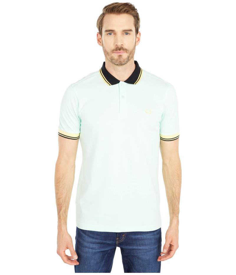 フレッドペリー メンズ シャツ トップス Contrast Rib Pique Shirt Misty Jade