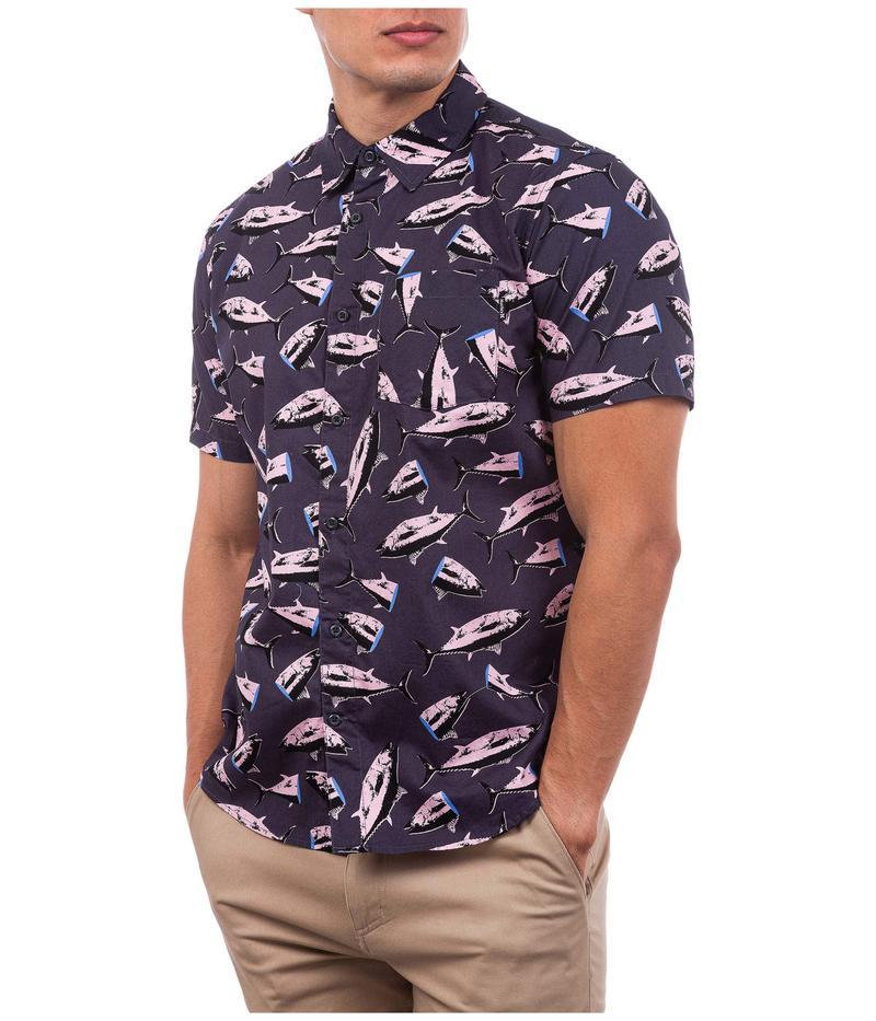 ハーレー メンズ シャツ トップス Ahi Short Sleeve Woven Shirt Dark Smoke Grey