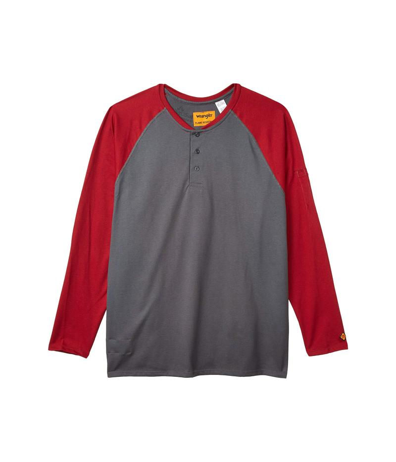 ラングラー メンズ シャツ トップス Big & Tall Flame-Resistant Long Sleeve Baseball Henley Red