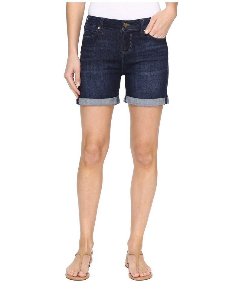 リバプール レディース ハーフパンツ・ショーツ ボトムス Vickie Rolled-Cuff Shorts Vintage Super Comfort Stretch Denim in Vintage Super Dark Vintage Super Dark