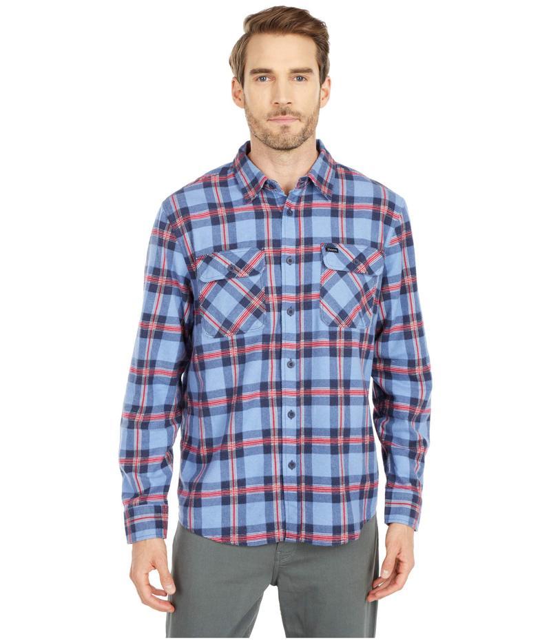 ブリクストン メンズ シャツ トップス Bowery Lightweight Long Sleeve Flannel Casa Blanca Blu