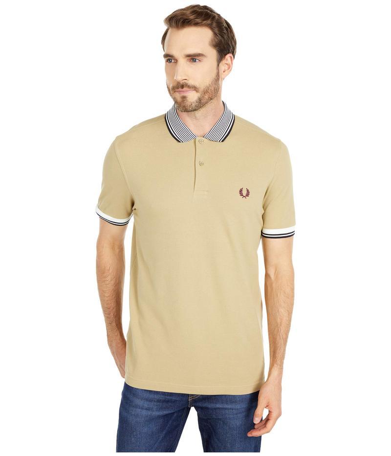 フレッドペリー メンズ シャツ トップス Stripe Collar Polo Shirt Dark Stone